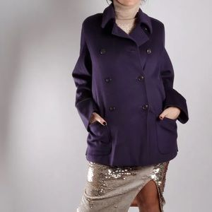 Max Mara Purple Wool Coat Button Front